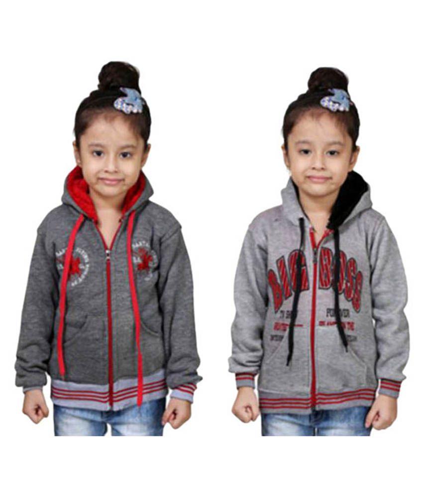 Qeboo Grey Fleece Sweatshirts - Pack of 2