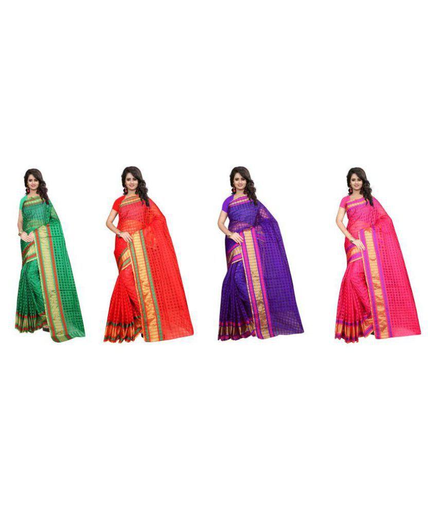 Bindani Studio Multicoloured Art Silk Saree Combos