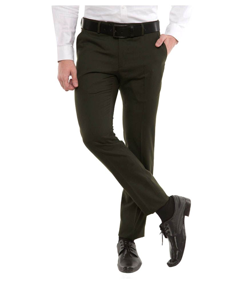 Black Coffee Green Tapered Flat Trousers