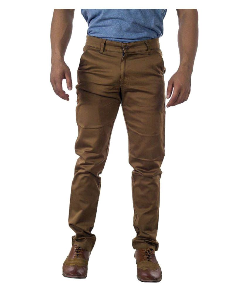 Groviano Brown Regular Flat Trousers