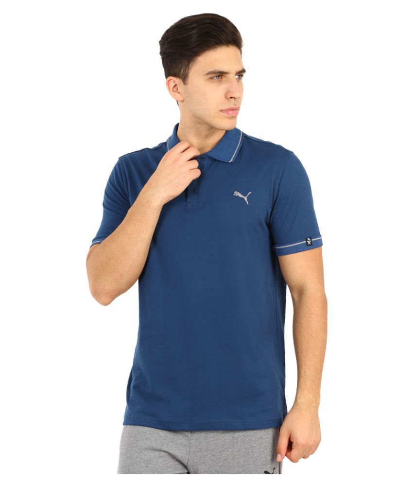 Puma Blue Polyester Polo T-Shirt