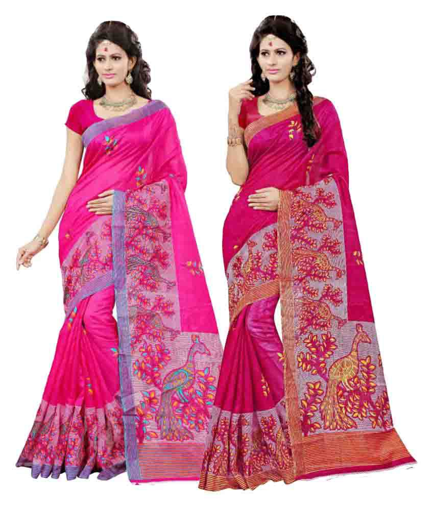 7 Brothers Multicoloured Bhagalpuri Silk Saree Combos