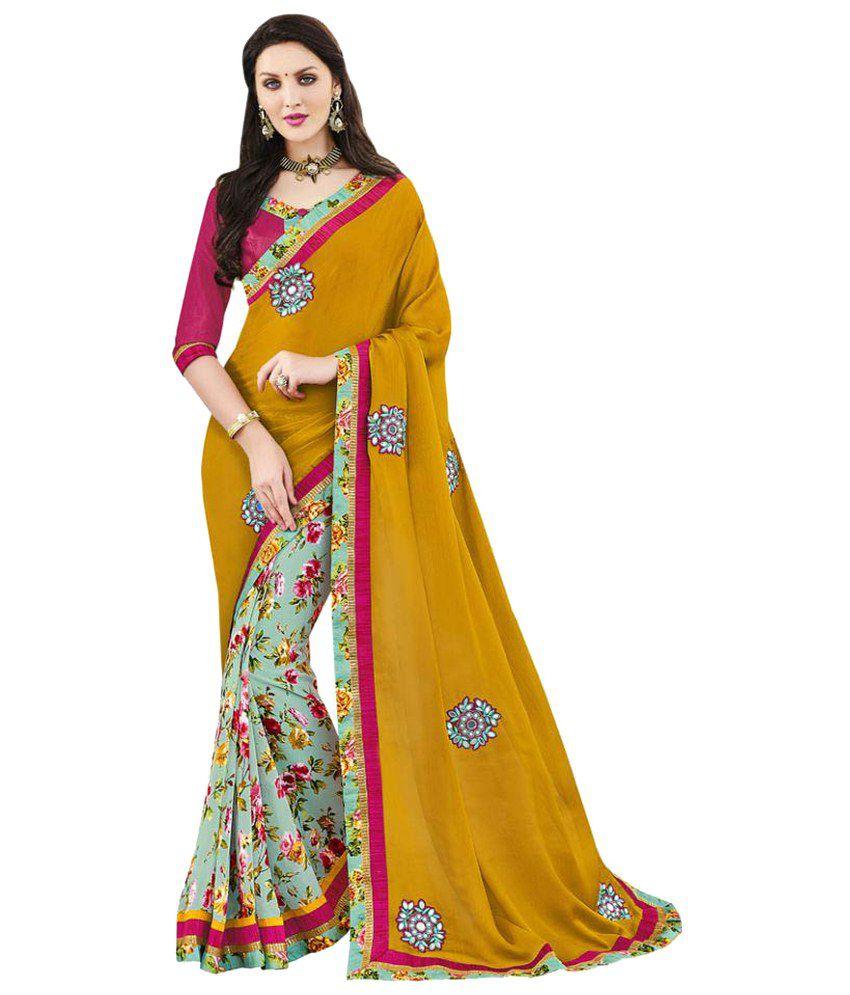 DesiButik Multicoloured Satin Saree