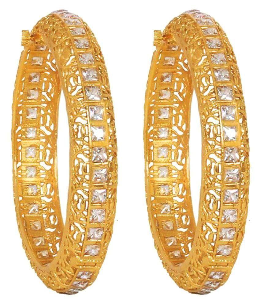 Jewels Gold American Diamond Gold Plated Designer Bangle Set