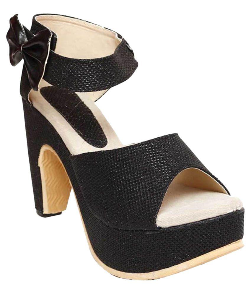Vaniya Shoes Black Cone Heels