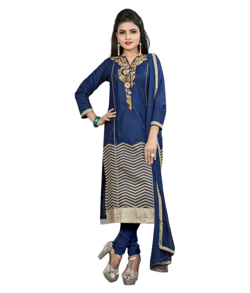 Aai Shree Khodiyar Art Multicoloured Cotton Dress Material