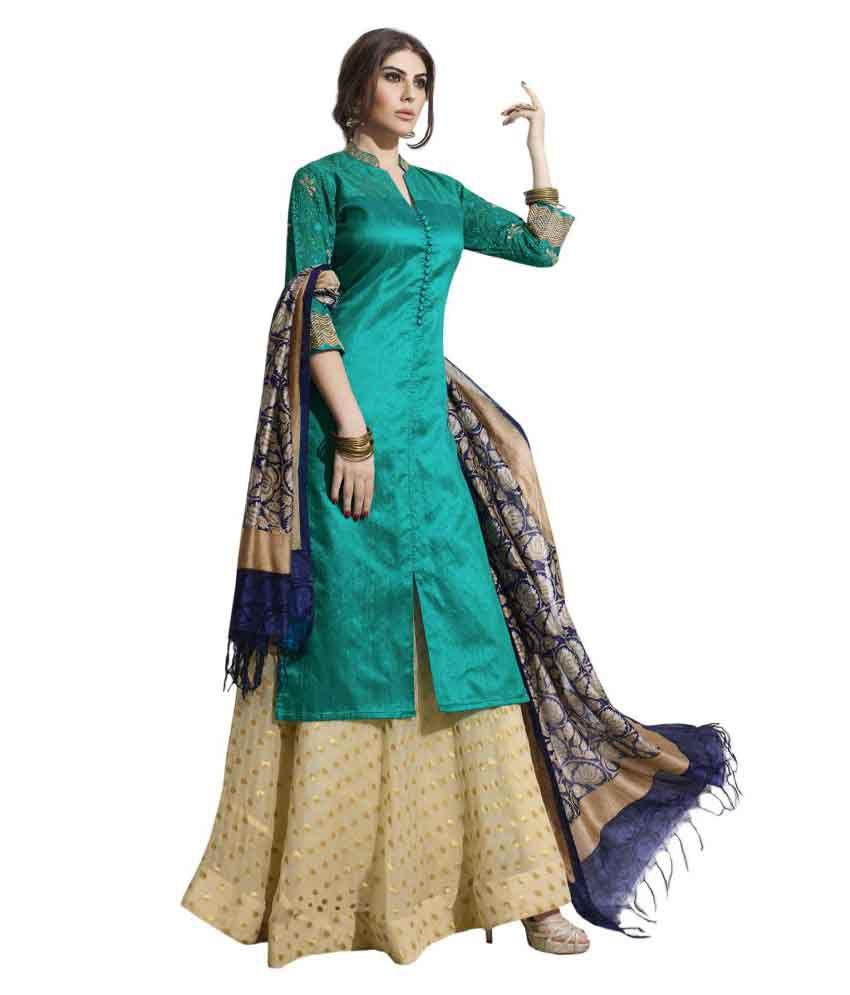 Payal Green Raw Silk Straight Stitched Suit