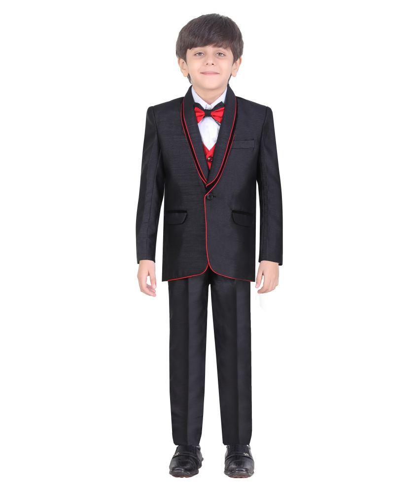 Jeet Black Cotton Blend Coat Suit Boy Dress