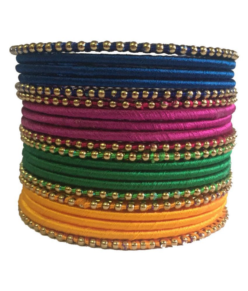 Kuhuk Multicolour Silk Thread Plastic Bangle Set