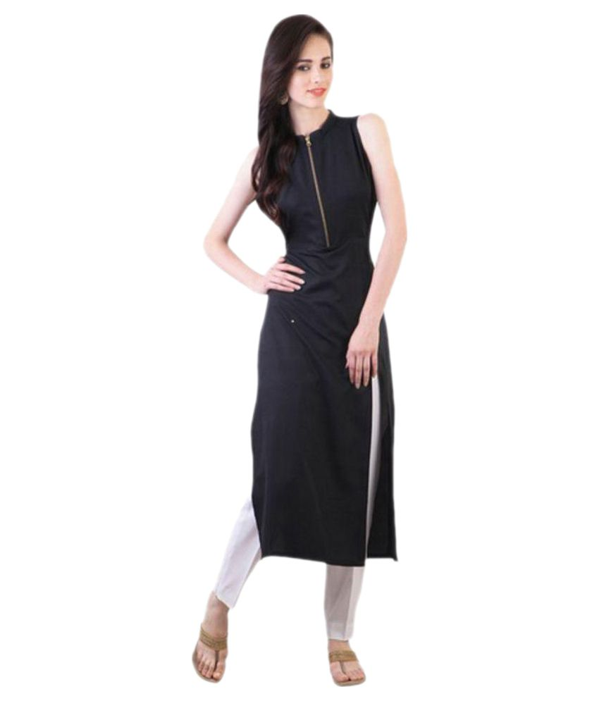Castle Fashion Black Crepe Straight Kurti