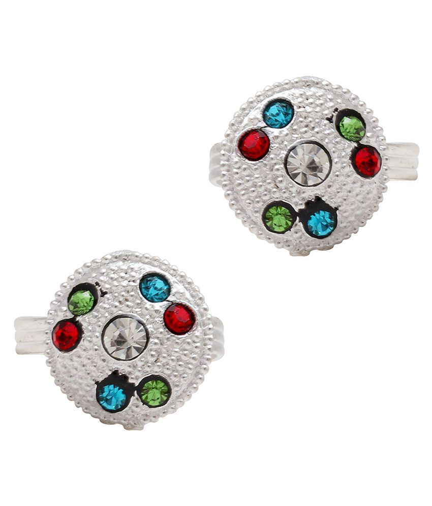 Memoir Silver Plated Colourful Cz Round Shape Toering For Women