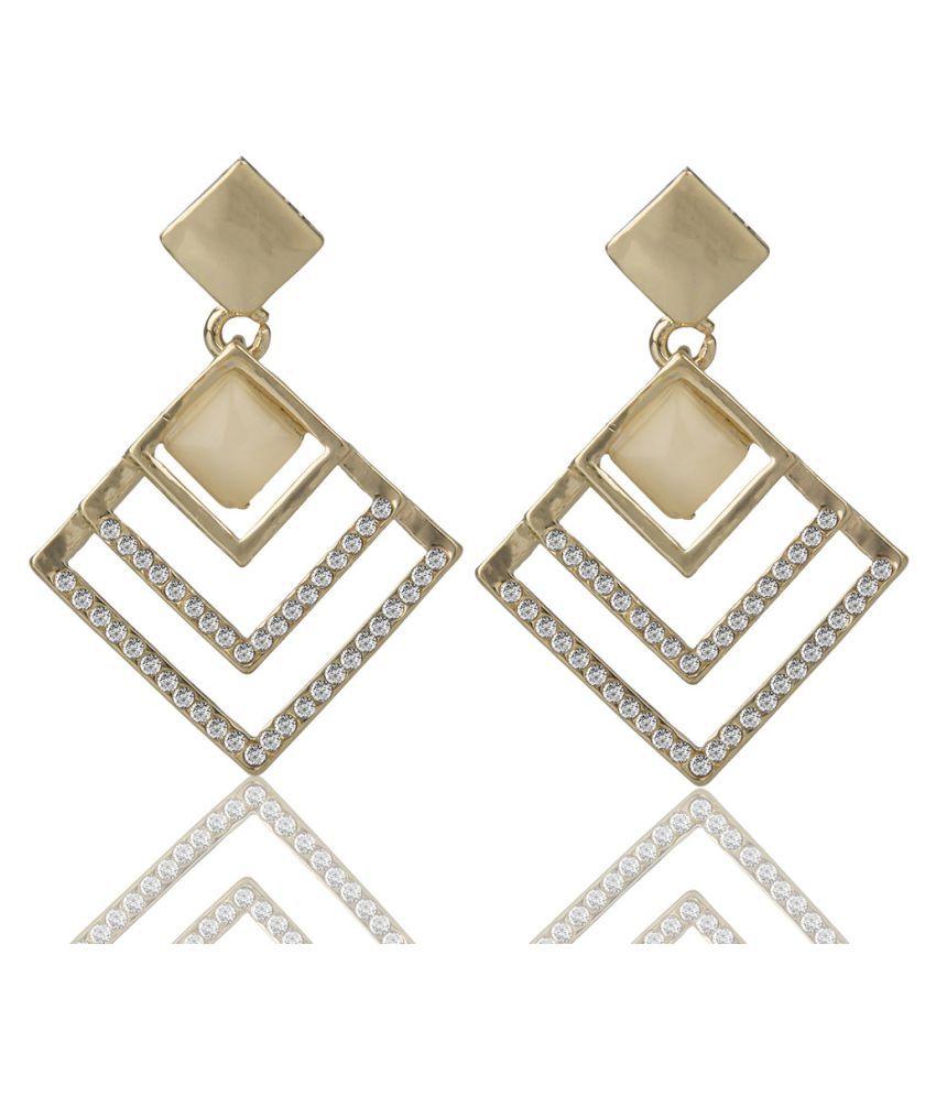 Naveli Designer Gold Plated Light Weight Dangling Earrings For Women