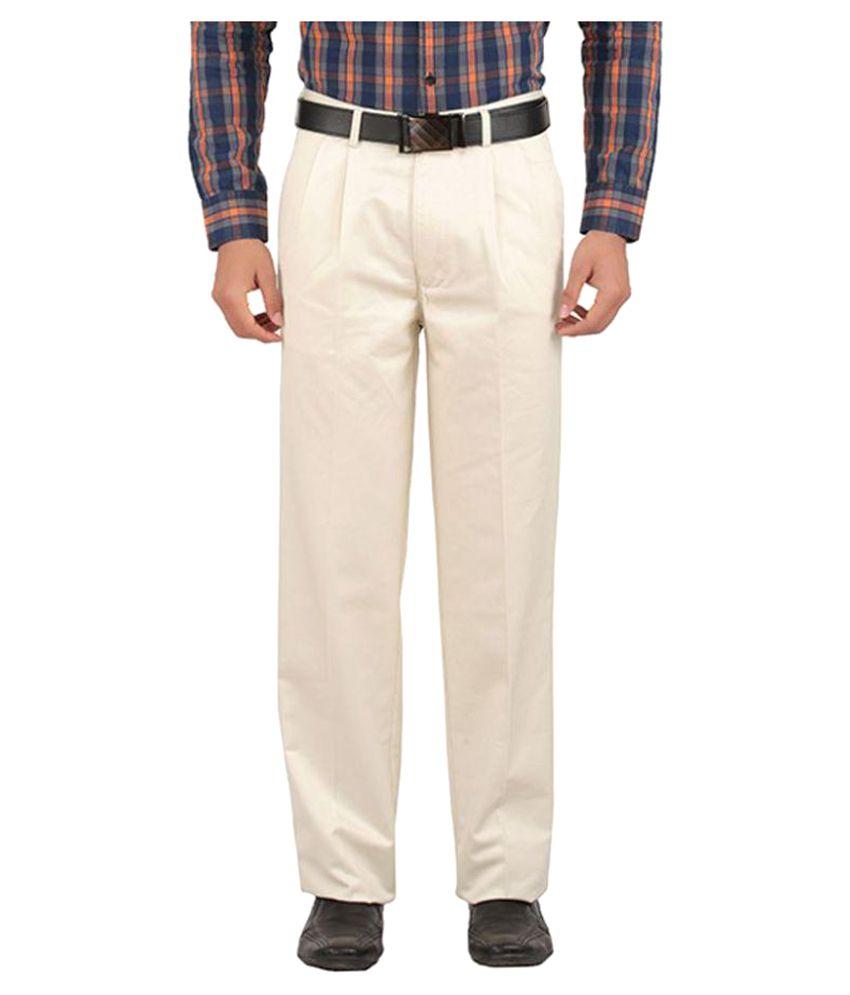 Tibre Off White Regular Flat Trousers