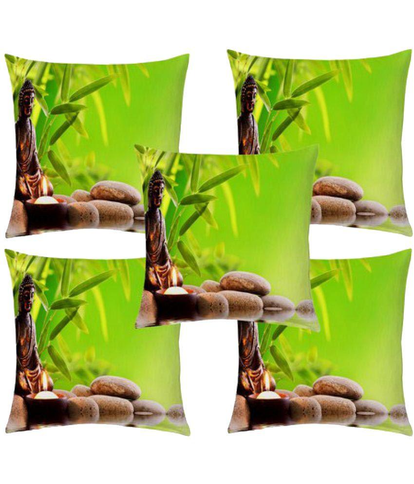 HomeZaara Set of 5 Polyester Cushion Covers