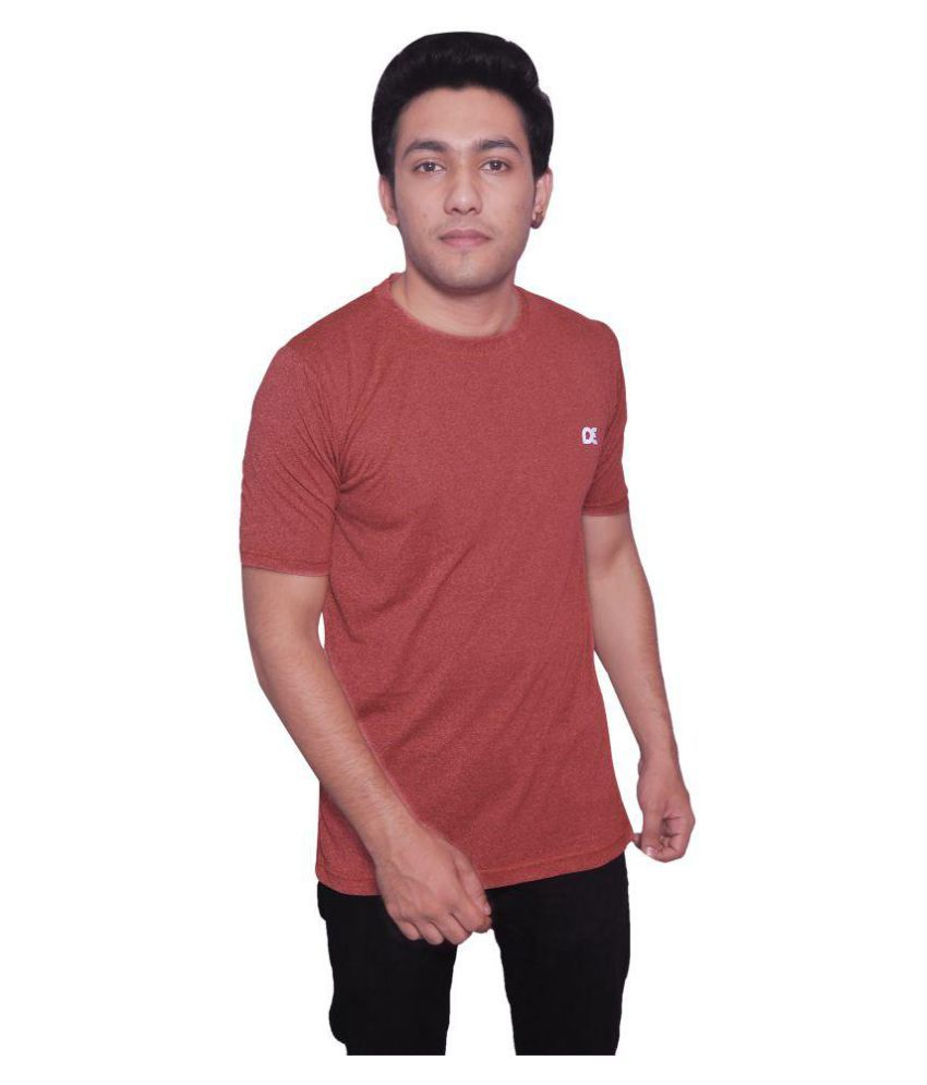 Dyed Colours Brown Polyester T-Shirt