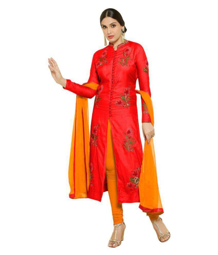 H Wine Orange Cotton Dress Material