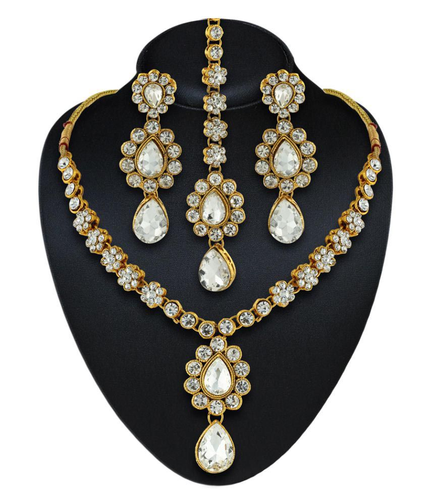 Rich Lady White Necklace Set with Maang Tika