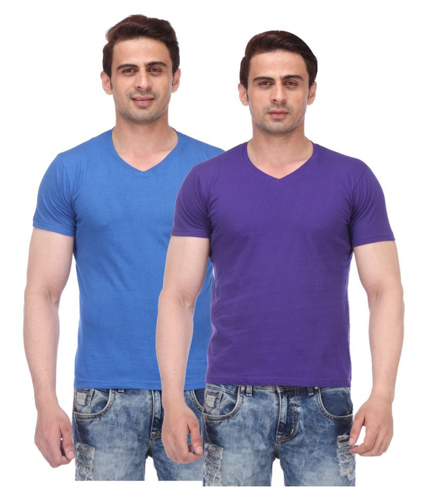 TeesTadka Multi V-Neck T-Shirt Pack of 2