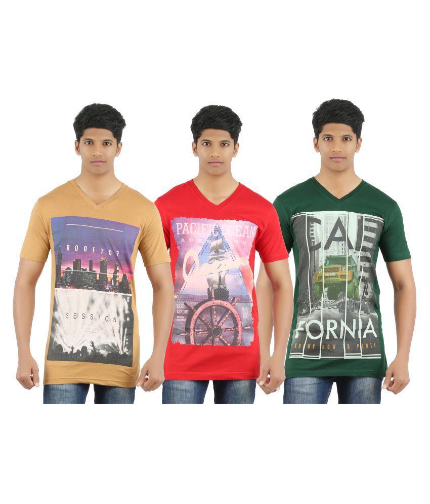 Port Deal Multi V-Neck T-Shirt Pack of 3