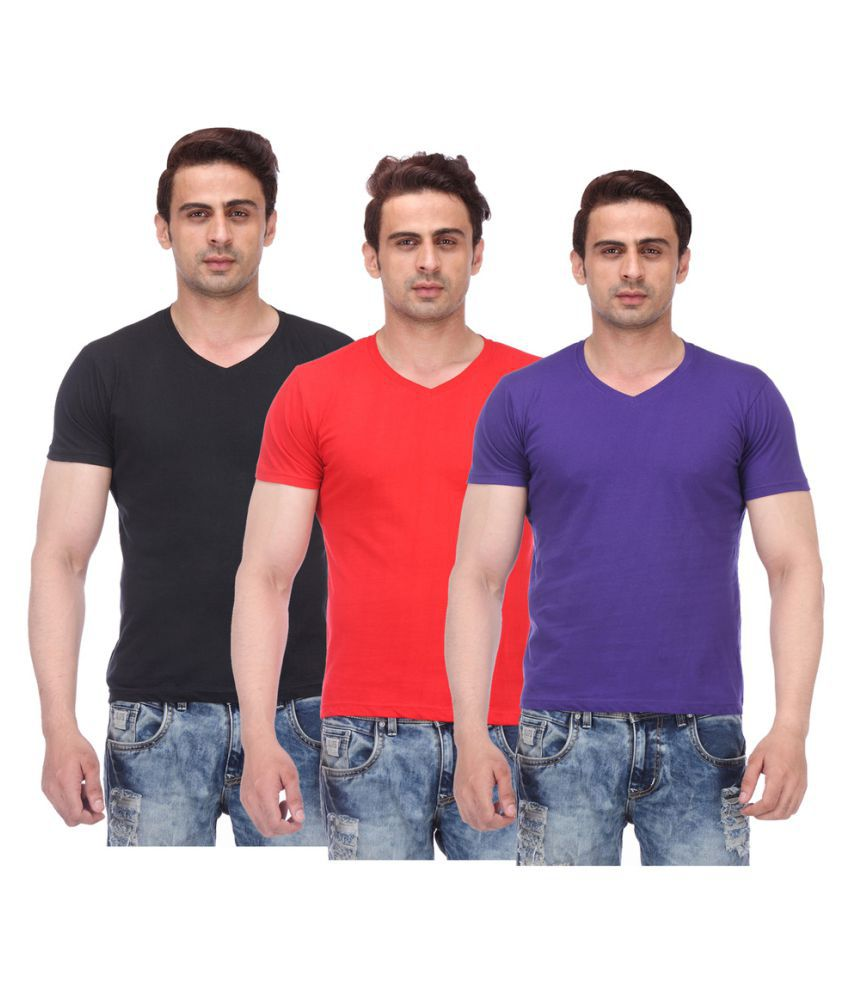 TeesTadka Multi V-Neck T-Shirt Pack of 3