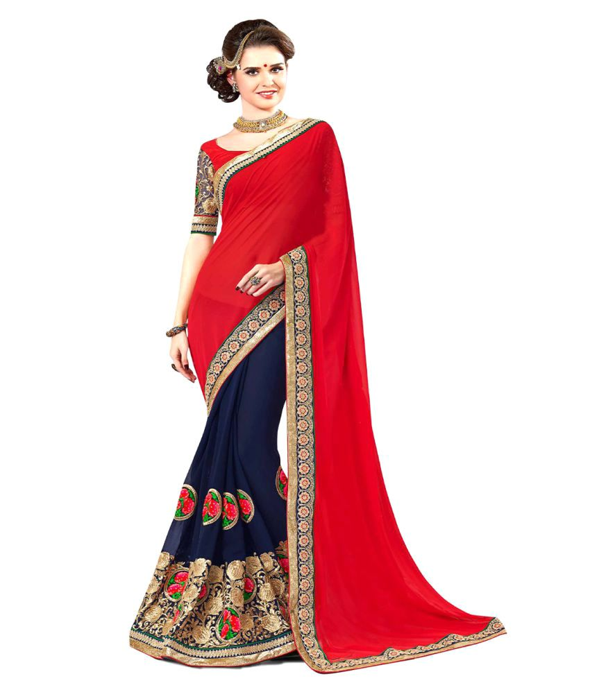 a3101ae7fee Zofey Bollywood Designer SareeS Red and Beige Georgette Saree - Buy Zofey  Bollywood Designer SareeS Red and Beige Georgette Saree Online at Low Price  ...