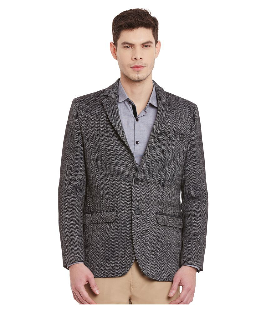 Envoy Grey Striped Casual Blazers