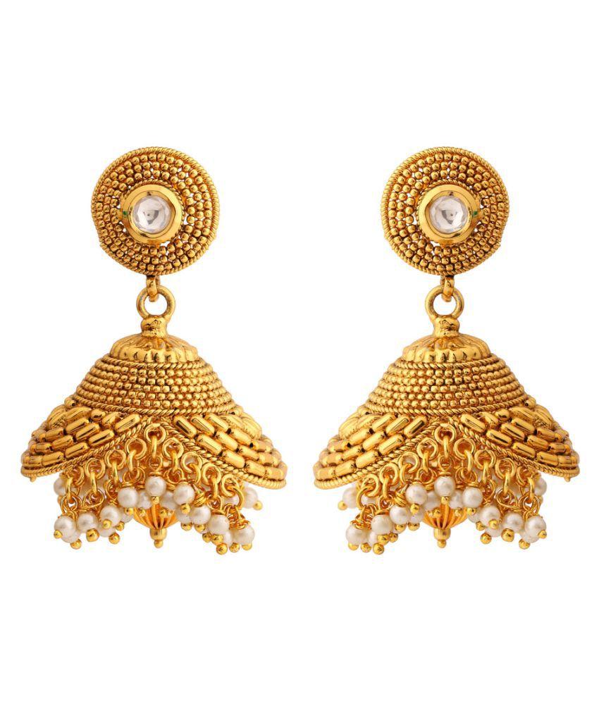 Rajwada Arts Gold colored Brass Designer Jhumki Dangle Earring  for women