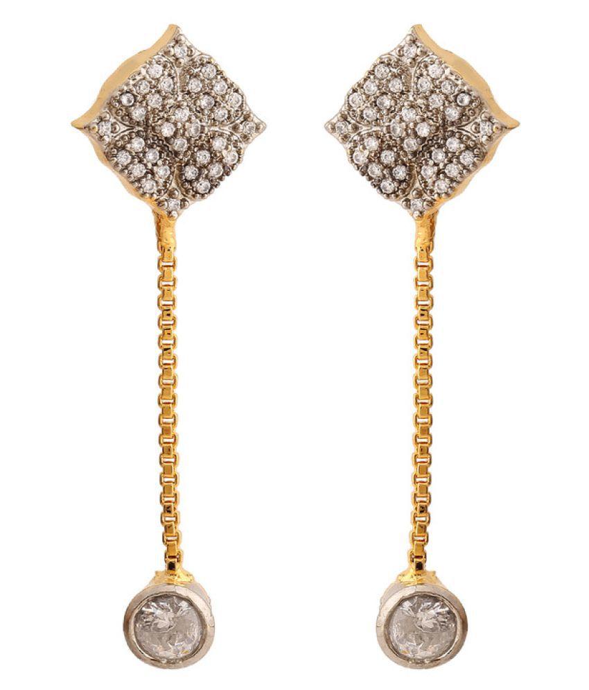 Rajwada Arts Golden Cubic Zirconia Brass Drop Earrings