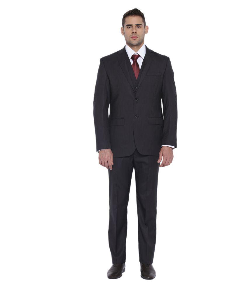 Park Avenue Black Solid Formal Suit