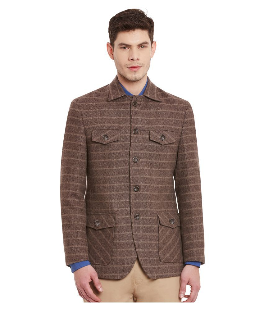 Envoy Brown Striped Casual Blazers