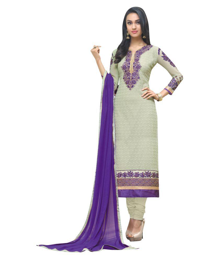 Maroosh Beige Georgette Dress Material