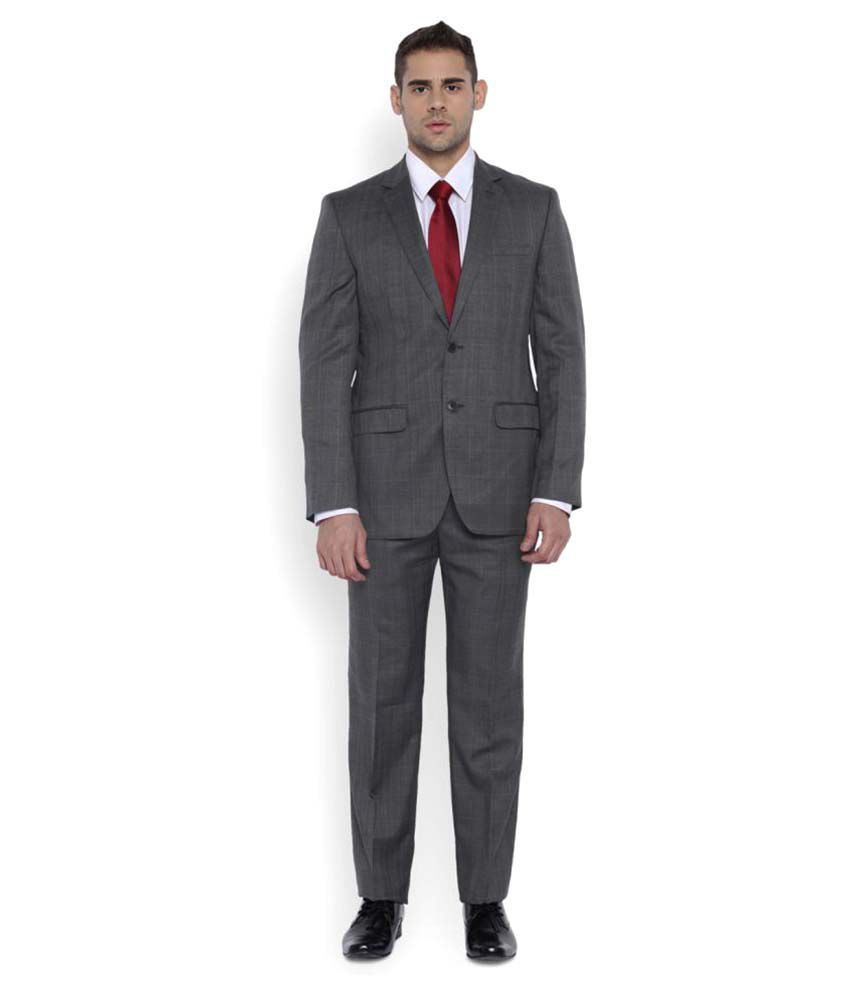 Park Avenue Grey Checks Formal Suit
