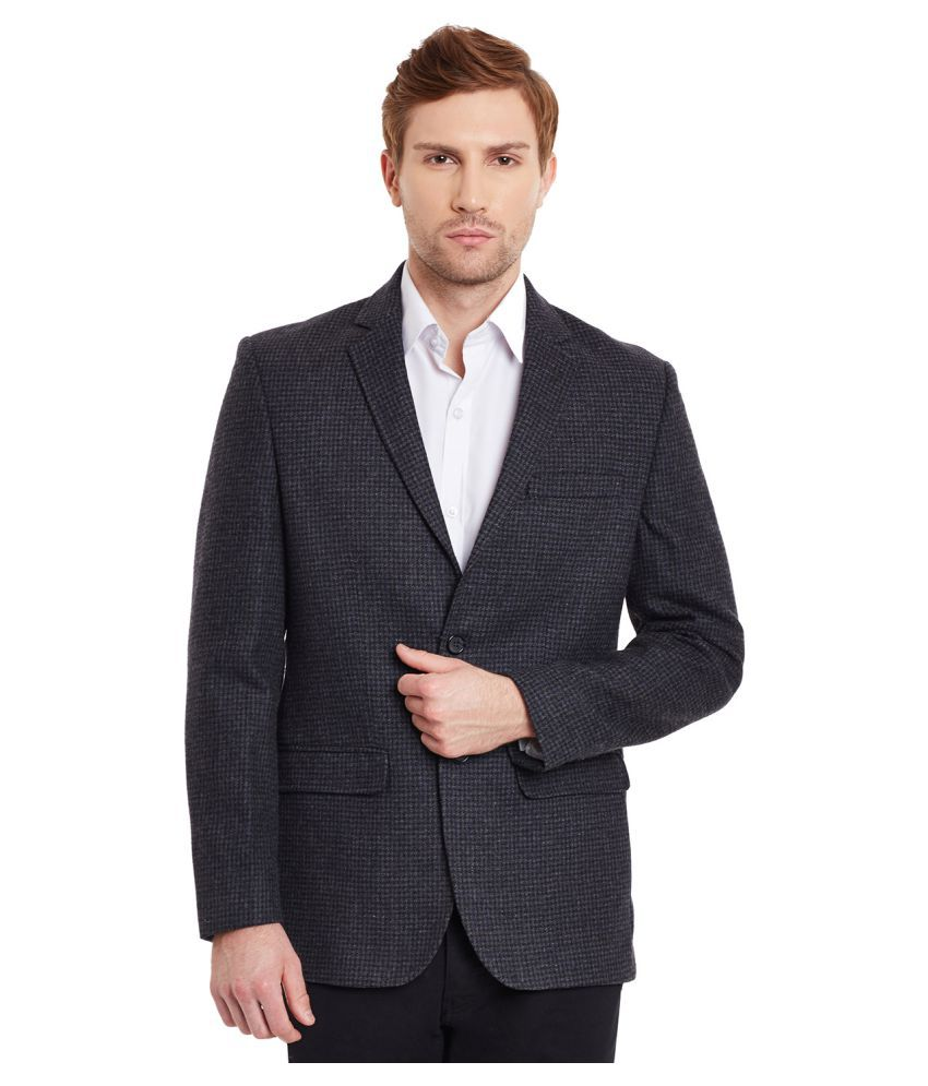 Envoy Grey Self Design Casual Blazers