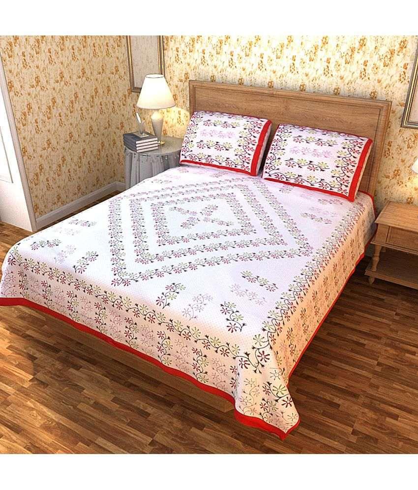 Home D Double Cotton Multicolor Floral Bed Sheet