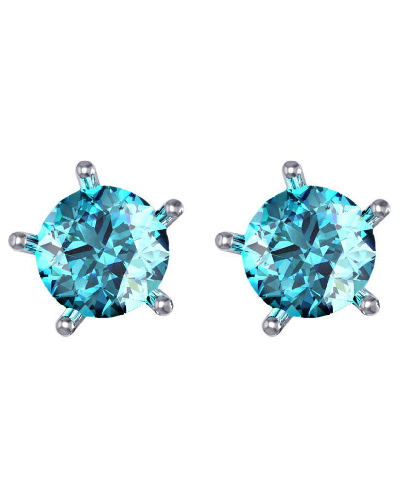 Suvam Jewels 92.5 Silver Swarovski Studs