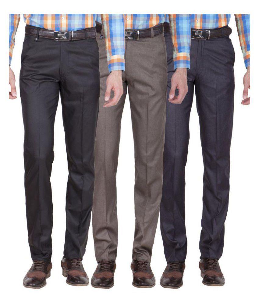 American-Elm Multicolored Slim Flat Trousers