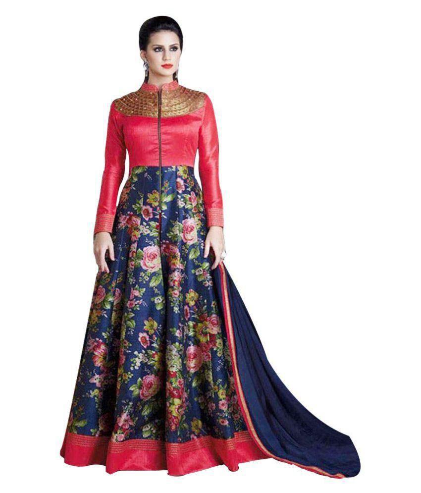 ca86397add9 Finivo Fashion Blue and Red Bangalore Silk Anarkali Gown Semi-Stitched Suit  - Buy Finivo Fashion Blue and Red Bangalore Silk Anarkali Gown Semi-Stitched  ...