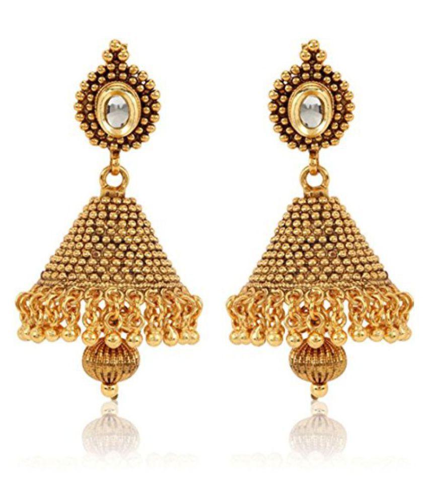 98ca06fc2 18K Gold Plated Traditional Kundan Jewellery Fancy Party Wear Jhumki /  Jhumka Earrings for Girls & Women - Buy 18K Gold Plated Traditional Kundan  Jewellery ...