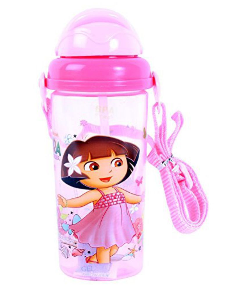 Nick Dora Plastic Sipper Bottle, 500ml, Light Pink/Dark Pink