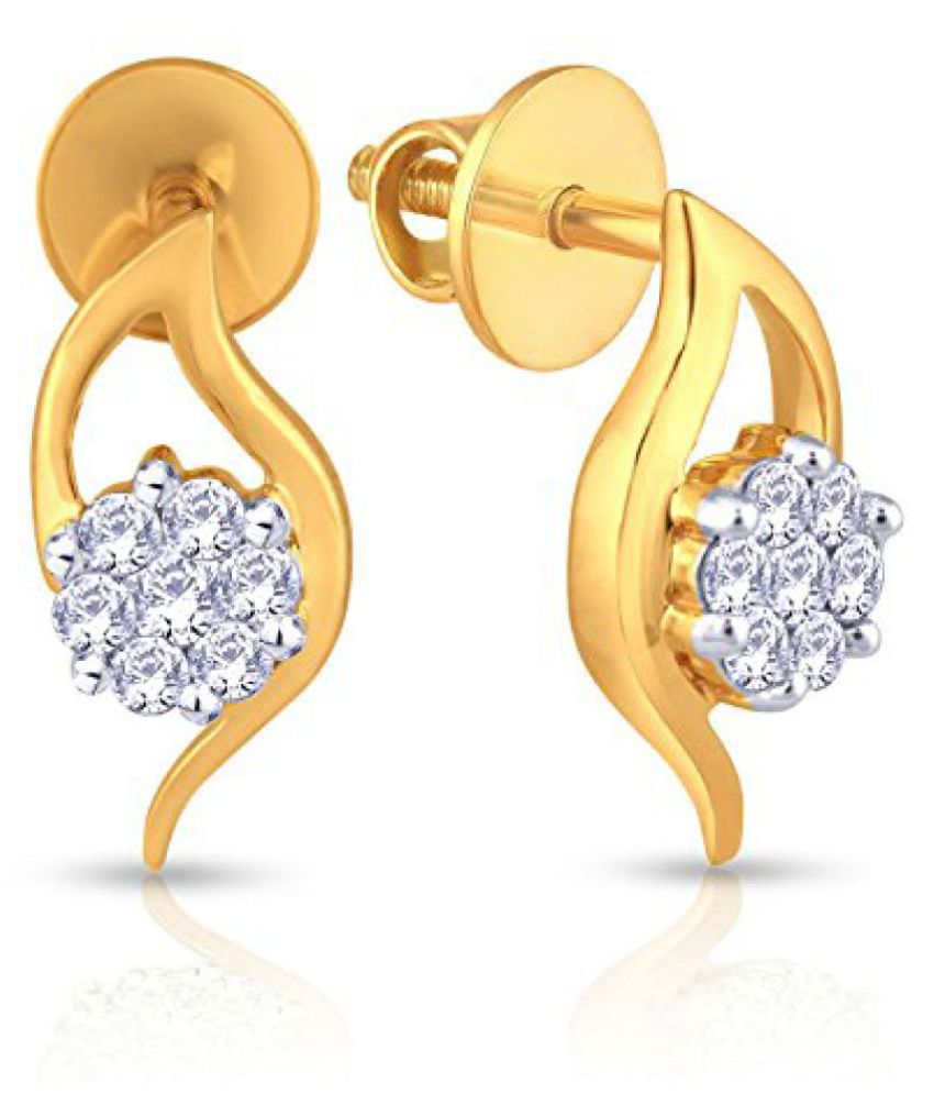 Mine Collection 18k Yellow Gold and Diamond Stud Earrings