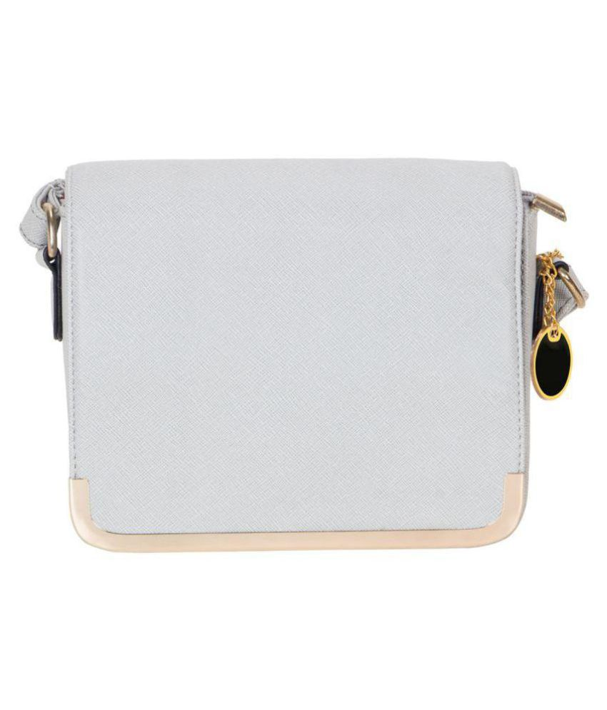 Smerize White Faux Leather Sling Bag