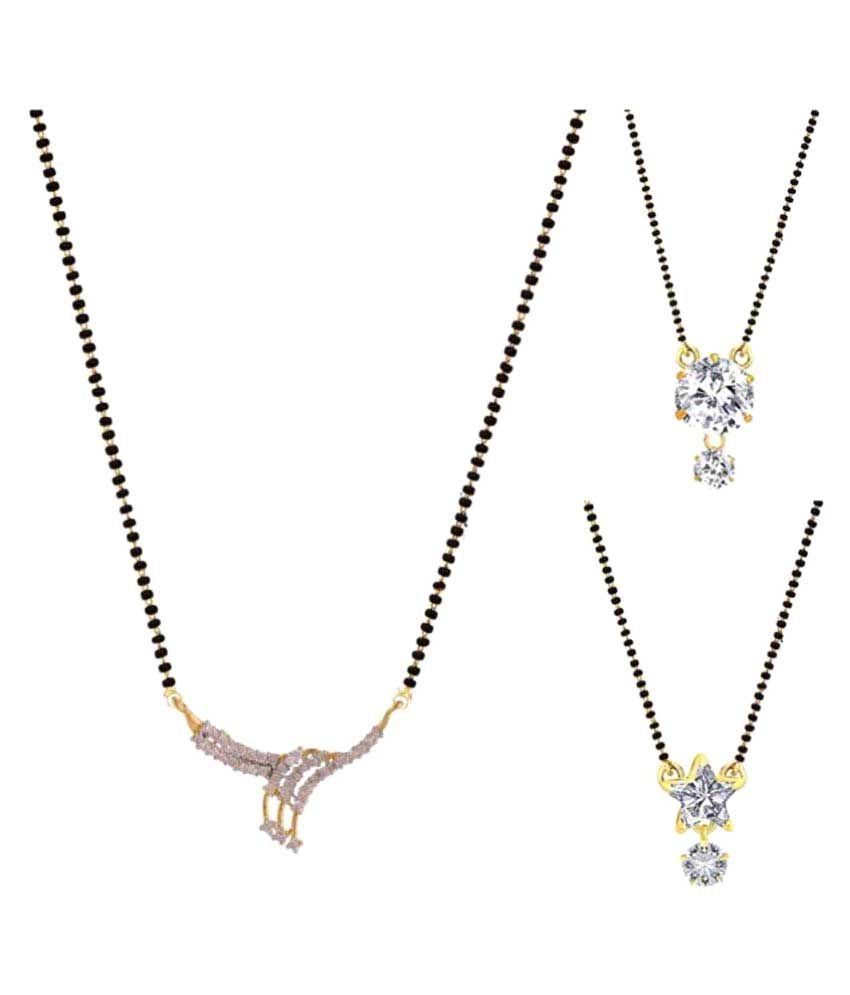 Archi Collection Pack of 3 CZ Mangalsutra Pendant and 3 Black Beaded Mangalsutra Chain For women