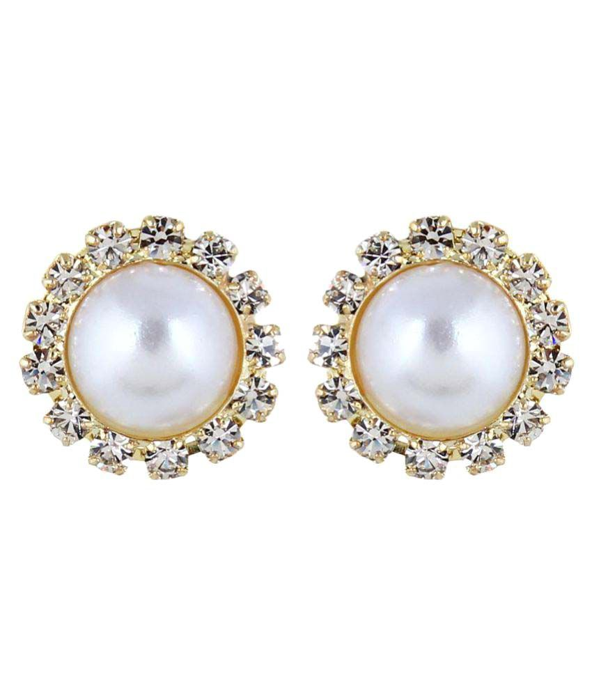 Firstblus Golden Pearl & Stone Studded Clip-On Earrings