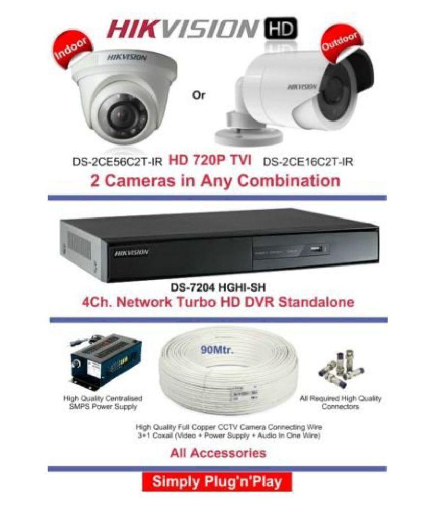 819fdd2f3d0 Hikvision High Definition 4 Channel 2 CAM CCTV Camera DVR Kit Price ...