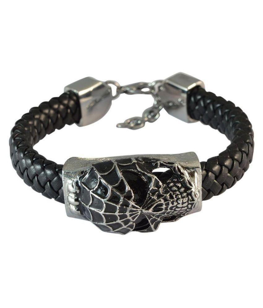 Black Spiderman Skull Leather Bracelet For Men