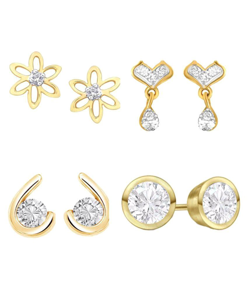 Kaizer Jewelry Golden Stud Earrings - Pack of 4