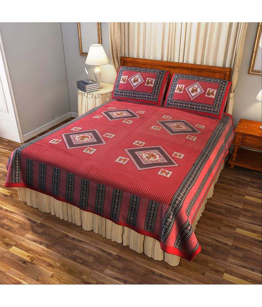 Home D Double Cotton Red Printed Bed Sheet