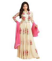 Fedor Life Co Off White Faux Organza Anarkali Gown Semi-Stitched Suit