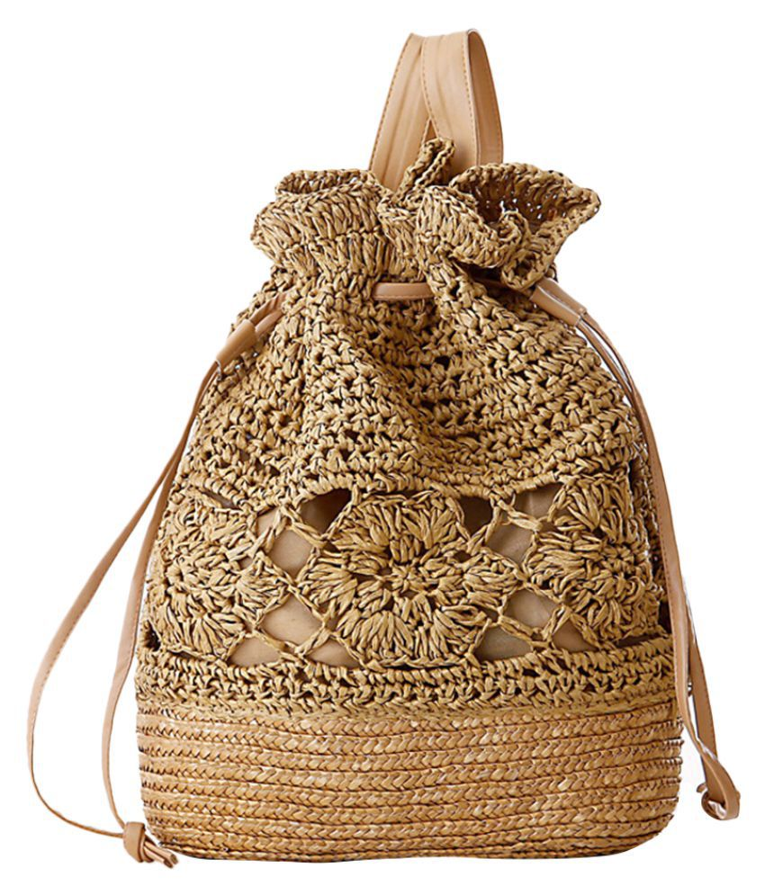 MagiDeal Brown Cotton Backpack