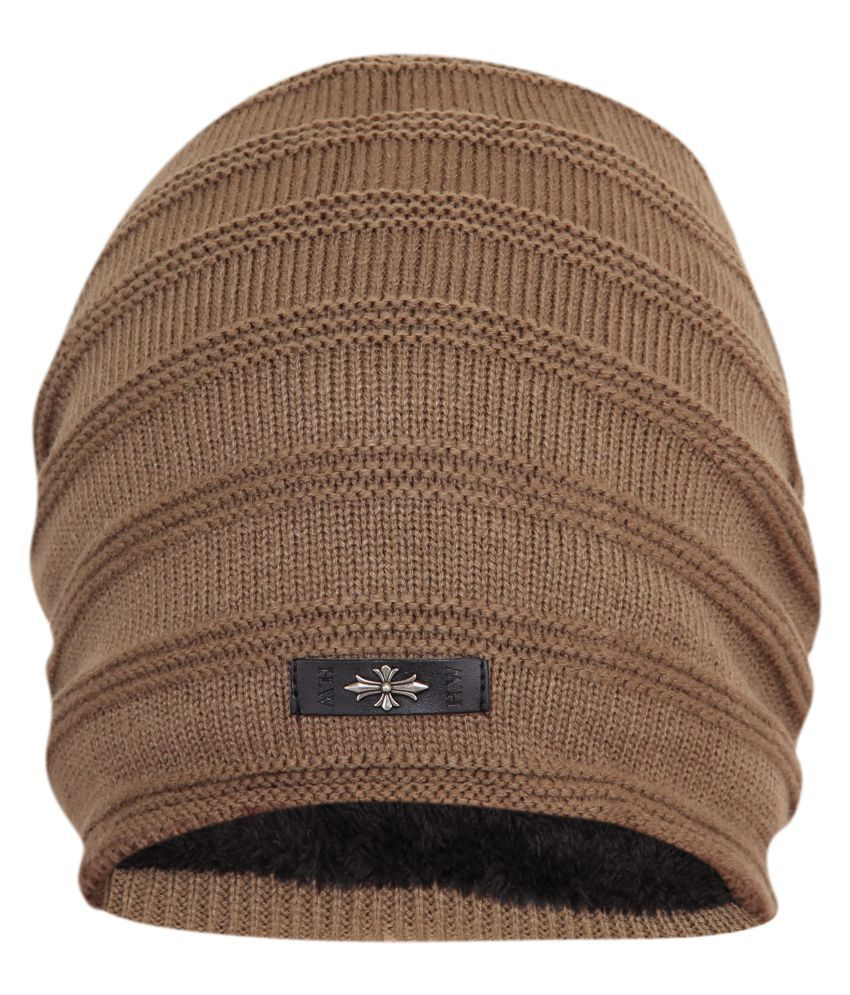 1253c6fedc2 ... FabSeasons Unisex Brown Acrylic Woolen Slouchy Beanie and Skull Cap for  Winters ...